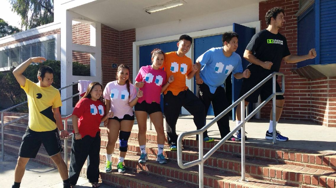 Group Costume Volleyball Tournament Pacman And Ghosts And The Dot Lol Young Life Camp Group Costumes Young Life