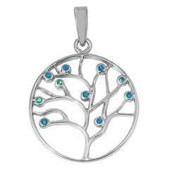 Sterling Silver Blue Opal Tree of Life Pendant 350769123456