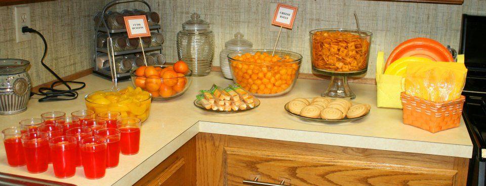 yellow orange birthday party nerf gun snack food