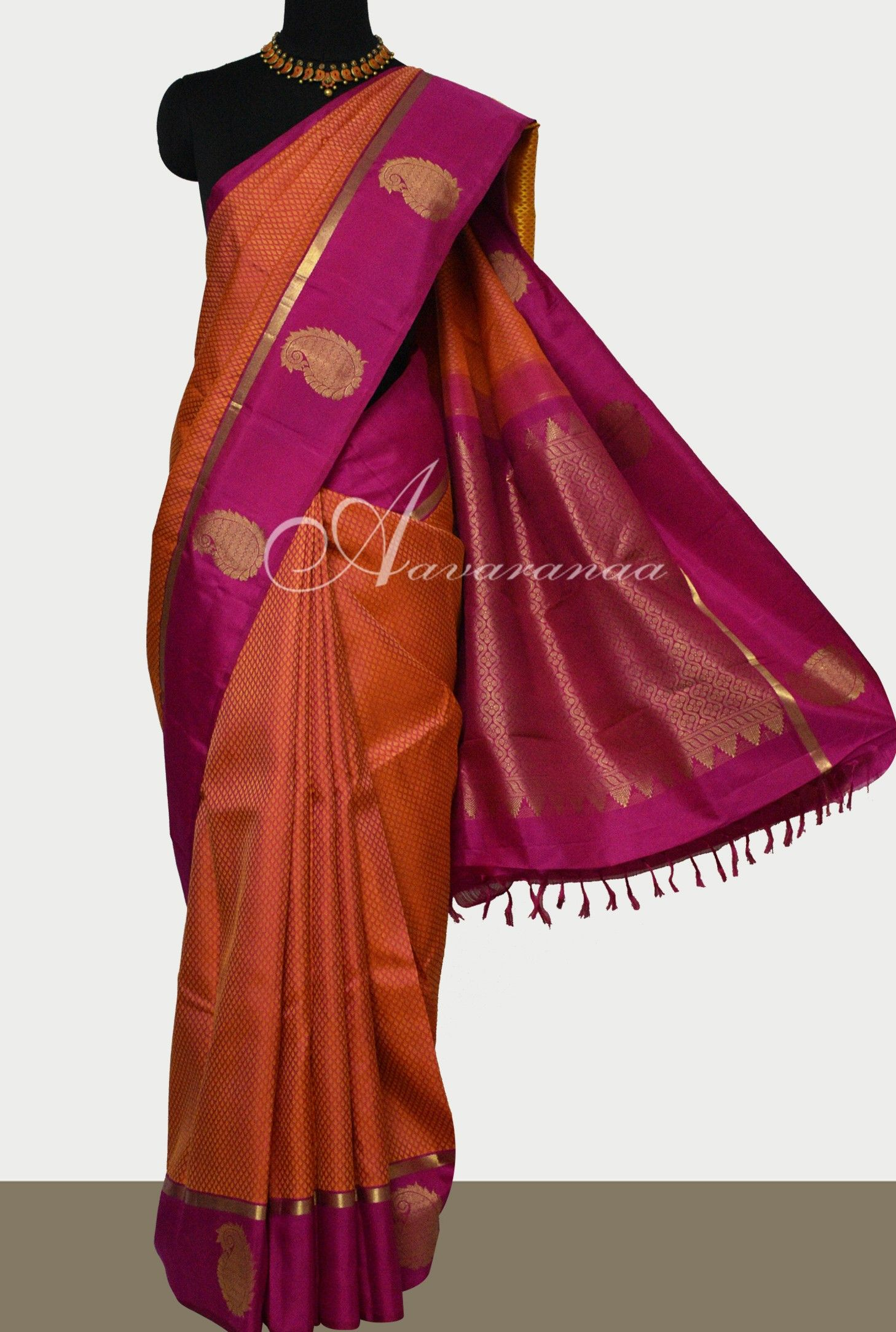 a14e4ec382 Burnt Orange kanchivaram silk saree with majenta border | Sarees ...
