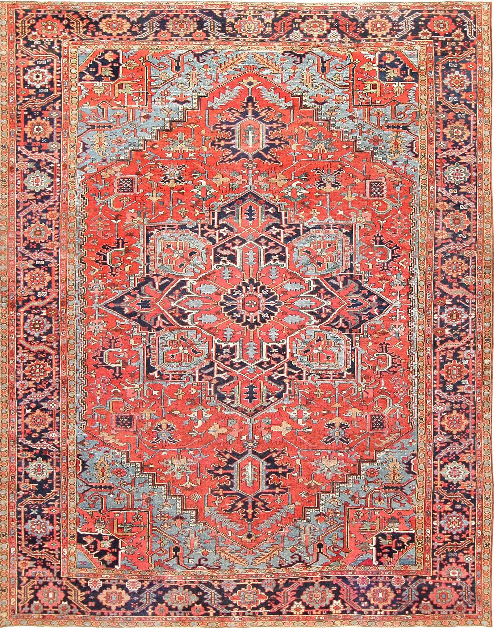 Large Antique Persian Heriz Serapi Carpet 47519 Main Image