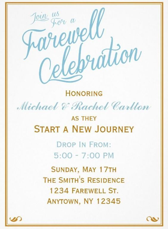 Farewell Invitation Wording Place Cards Card Holders