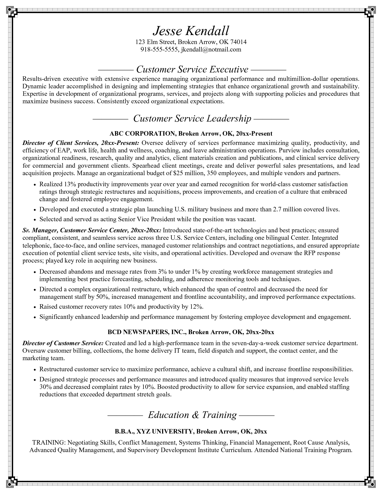Customer Service Resume Examples Skills Call Center Resume