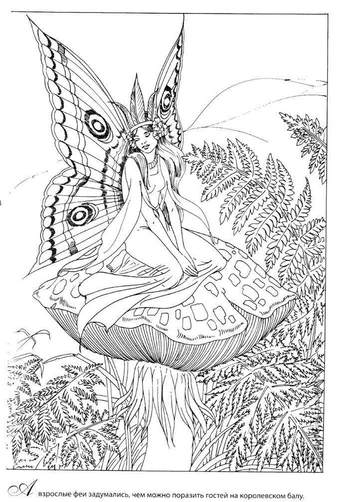 Фея с крыльями бабочки сидит на грибе (с изображениями ...