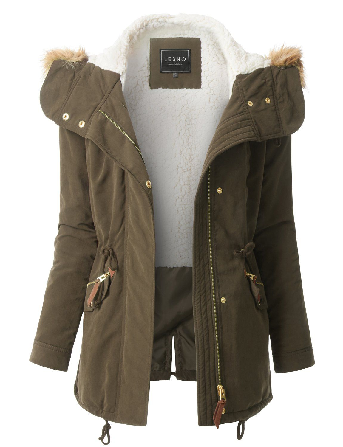 79d356b508f LE3NO Womens Fleece Lined Anorak Military Parka Jacket with Faux Fur Hoodie