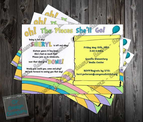 Oh The Places You 39 Ll Go Retirement Party Invitation Printable Retirement Party Invitations Party Invitations Printable Teacher Retirement Parties