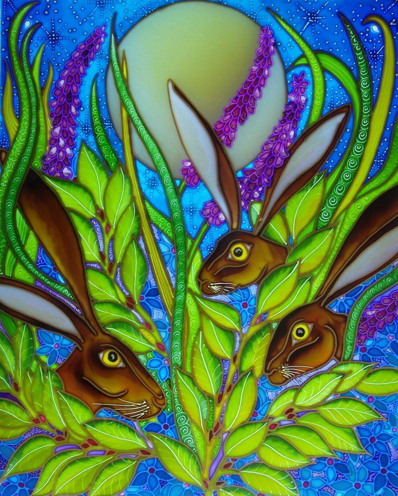 Three Moon Gazing Hares  Stained Glass style hand painted panels & splashbacks