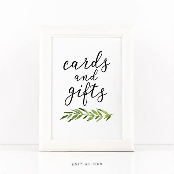 Cards And Gifts Printable Wedding Sign Green Leaves Cards