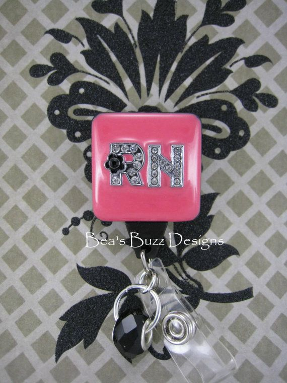 RN GLAMOUR - Retractable Badge Holder - Designer Badge Reel - Id Badge Clip - RN - Rhinestone Badges - Bling Badge - Badge Clip on Etsy, $18.00
