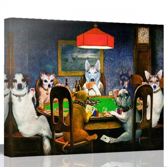 Dog Playing Poker By Snappy Canvas Dogs Playing Poker Dog Art Canvas