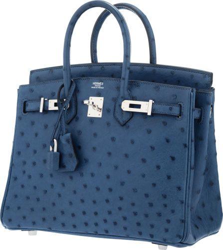 100db7f3a02 Hermes 25cm Blue Roi Ostrich Birkin Bag with Palladium Hardware ...