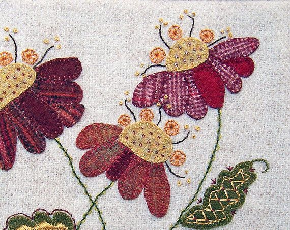 Jacobean flower wool applique hand embroidery pattern jac