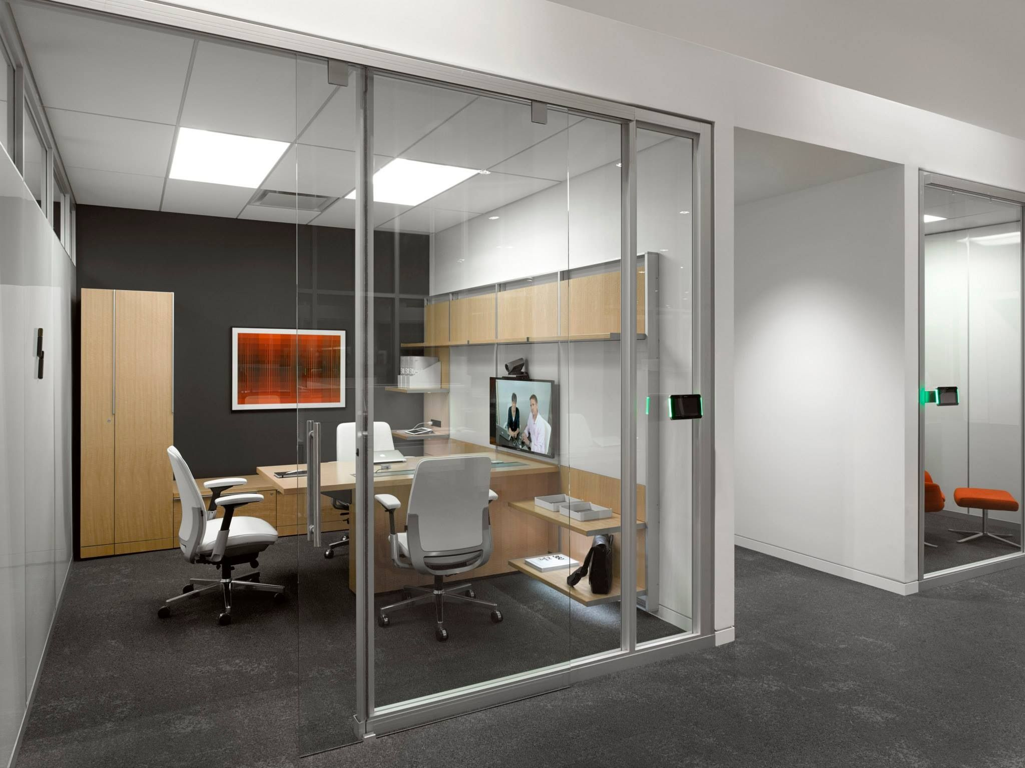Steelcase private office light wood furniture dark for Office wall interior