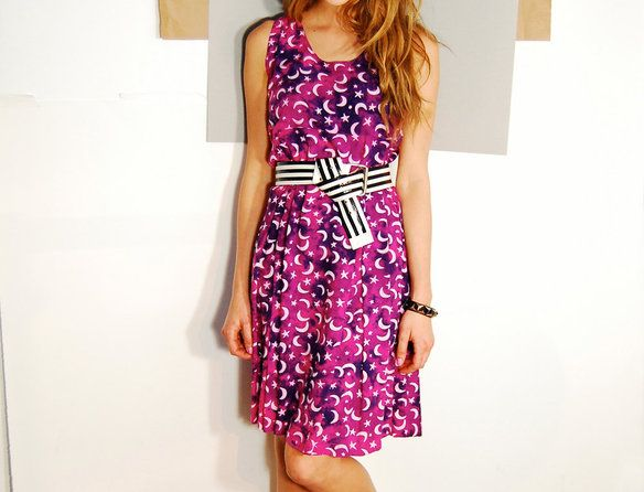 Acid Batik Magenta Moon and Stars Print Sun Dress