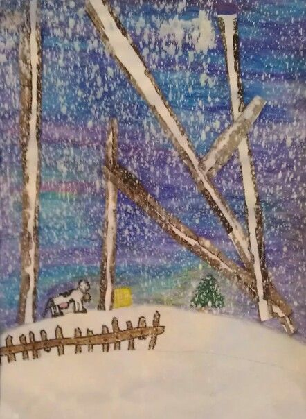 Winter Birch Trees Water Color Pencils Sharpies Oil Pastels White