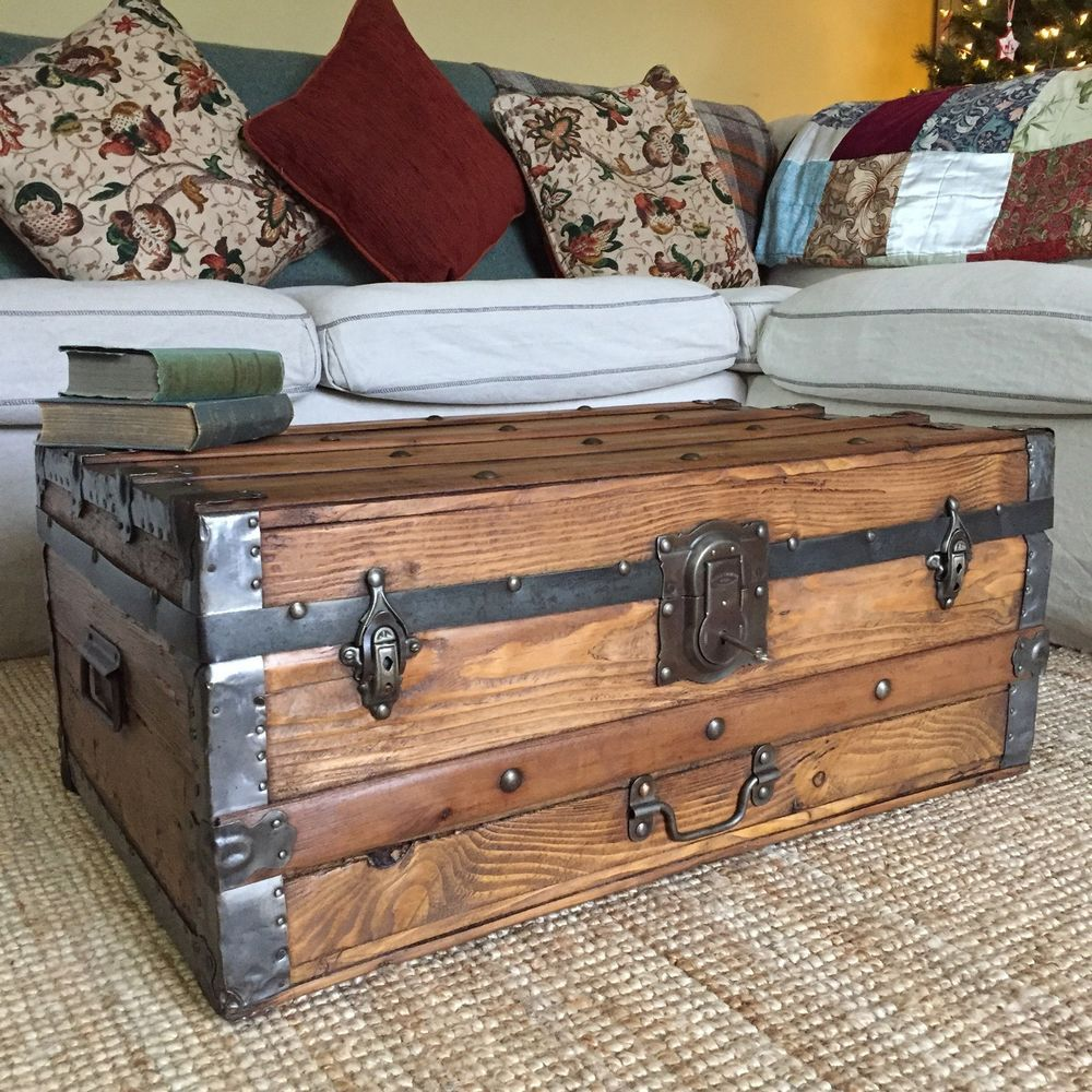 Details about ANTIQUE STEAMER TRUNK Pine Blanket CHEST Old Wooden Storage BOX Coffee TABLE Key is part of Industrial Living Room Storage -
