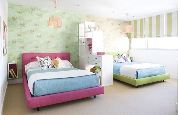 modern shared girls room by erinn v design group - Shared Bedroom Design Ideas