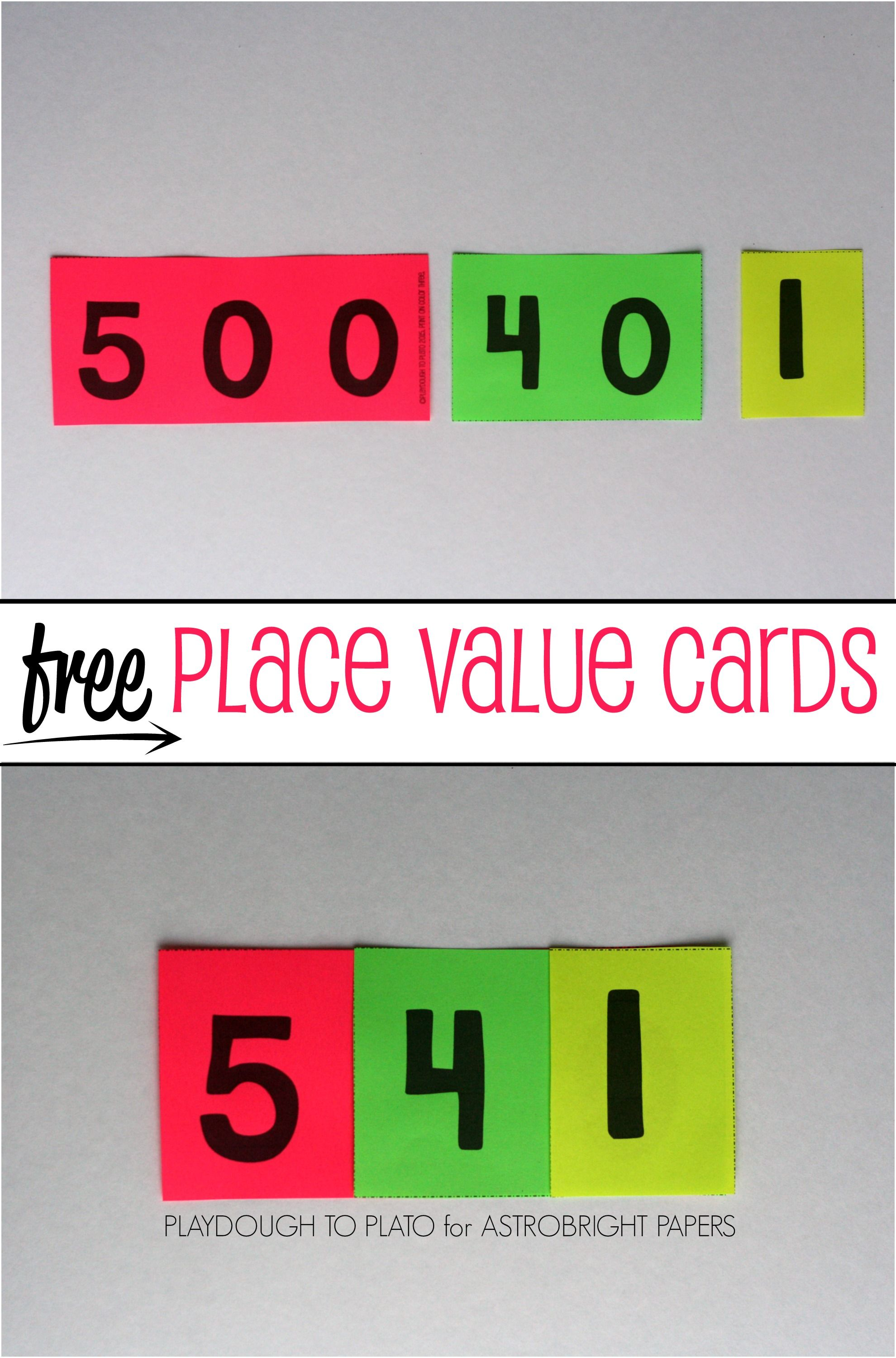 Printable place value cards free printable math and free falaconquin