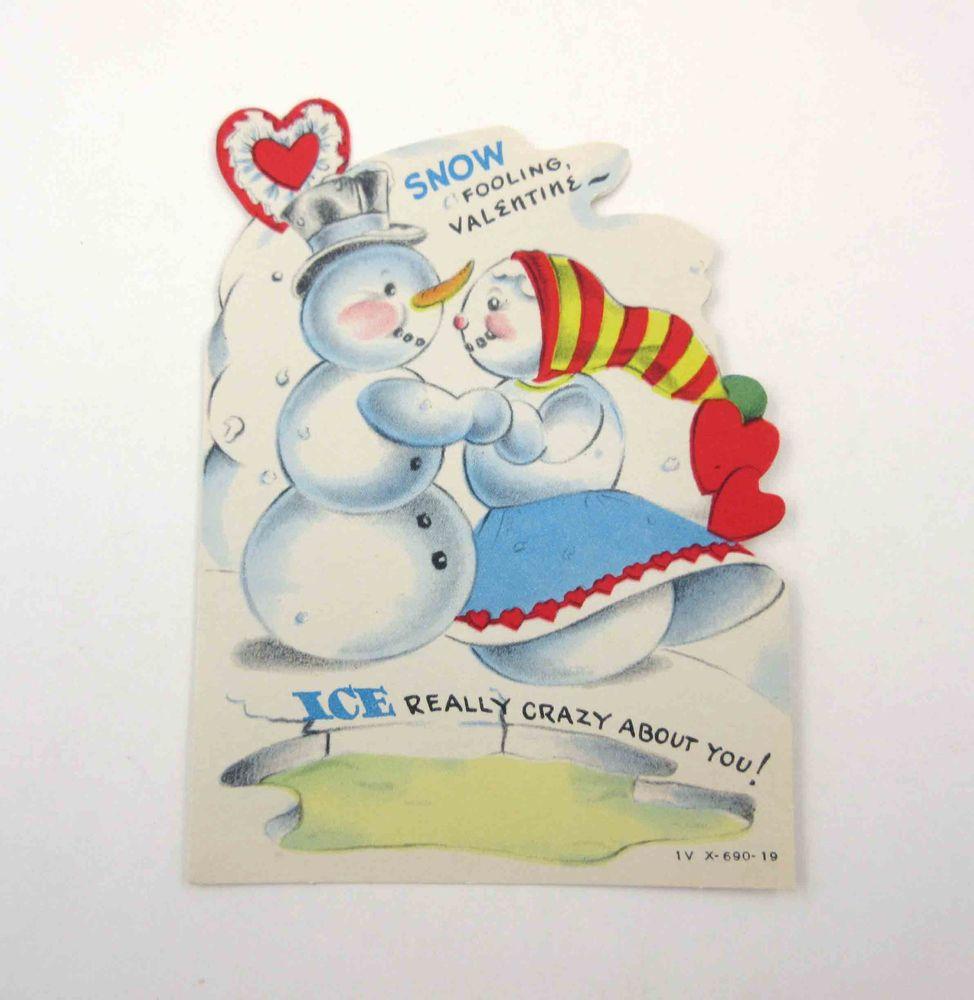 Vintage anthropomorphic valentine card cute snowman snowlady dancing vintage anthropomorphic valentine card cute snowman snowlady dancing ice pond kristyandbryce Gallery
