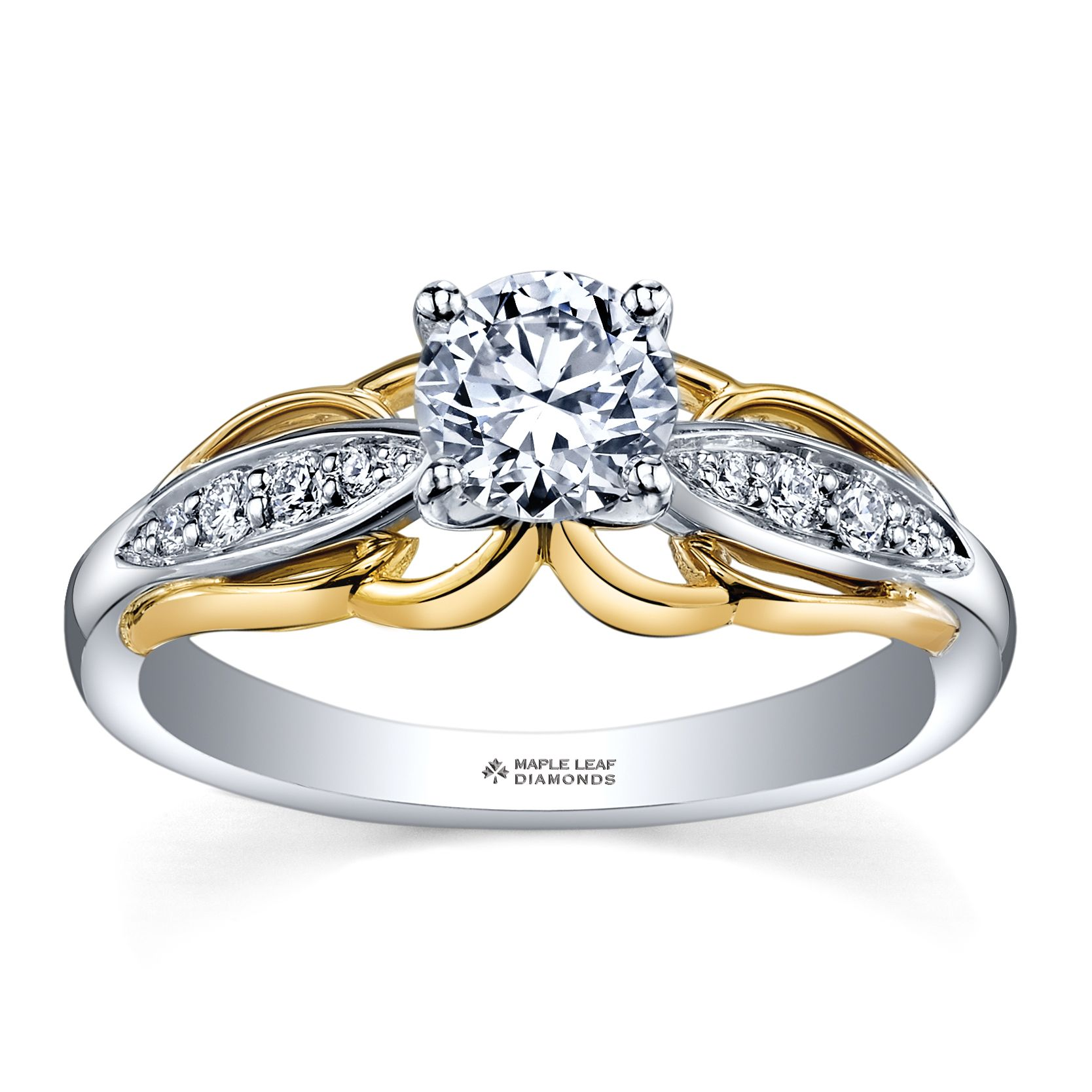 Canadian diamond engagement band with yellow gold accents