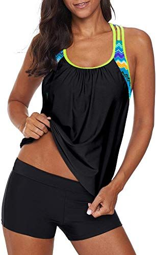 Amazing offer on Aleumdr Womens Blouson Striped Printed Strappy T-Back Push  Tankini Top  Shorts online - Trendyclothingonline 1