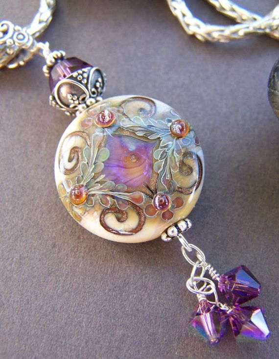 pendant necklace products jewel by glass rainbow antique jewelry dichroic wire handcrafted copper wrap moonlet