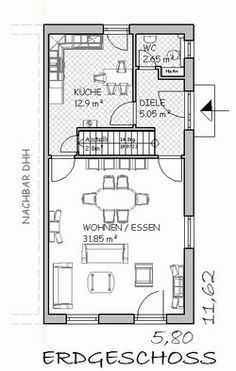 schmaler grundriss mit gerader treppe haus pinterest grundrisse schmal und treppe. Black Bedroom Furniture Sets. Home Design Ideas
