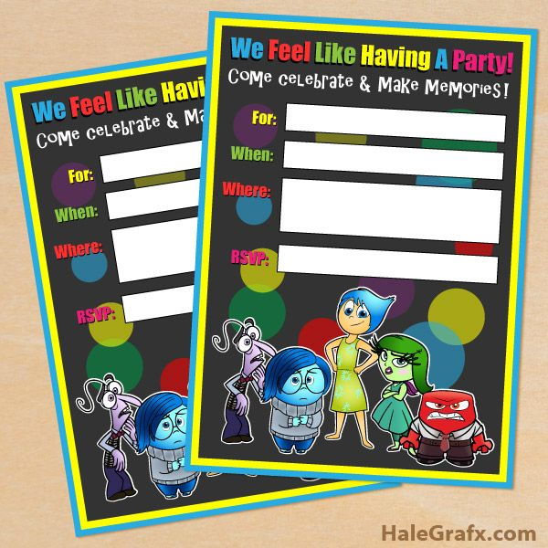 FREE Printable Disney Pixar Inside Out Birthday Invitation – Free Printable Party Invitations for Kids Birthday Parties