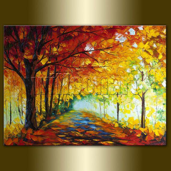 Autumn Landscape Painting Seasons Textured Palette Knife ...
