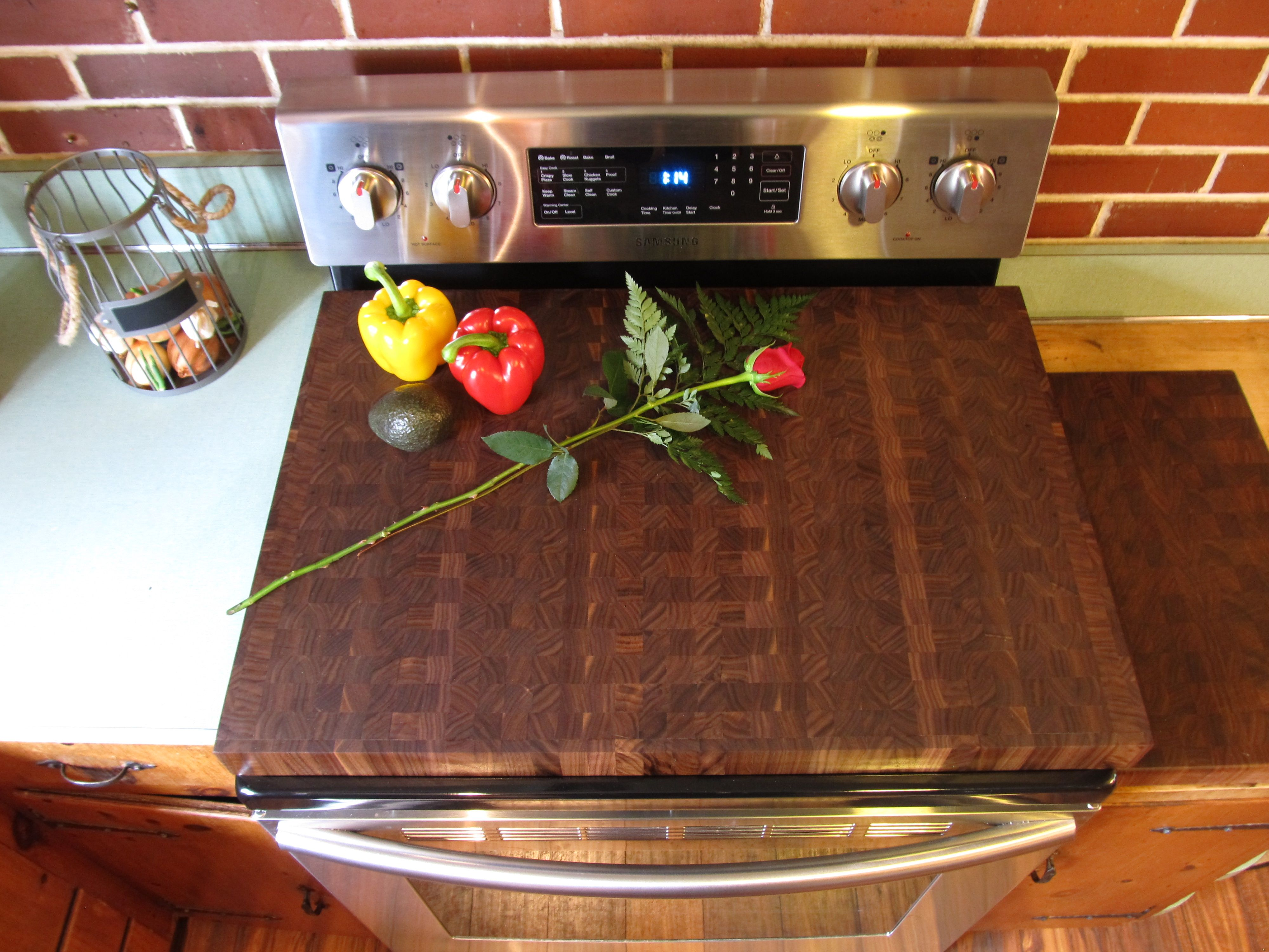 Walnut End Grain One Piece Stove Top Cover Stovetopcovers Stove Top Cover Gas Stove Top Covers Stove Cover