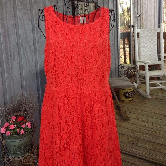 MADISON crochet orange/corral dress-used MADISON crochet dress-soooo cute! Used but great condition. Small belt loops-can use or remove. Fully lined. Madison Dresses