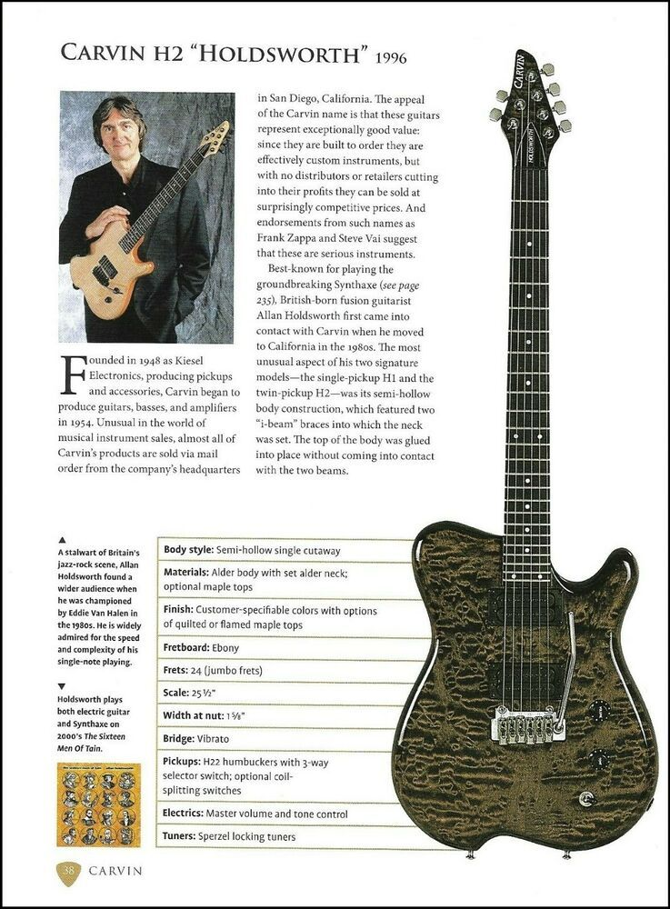Allan Holdsworth Signature Carvin H2 Bill Nelson Campbell Guitar Specs Article Carvin In 2020 Allan Holdsworth Guitar Guitar Reviews