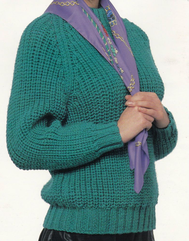 Vintage Knitting Pattern Instructions To Make A Ladies Chunky Jumper