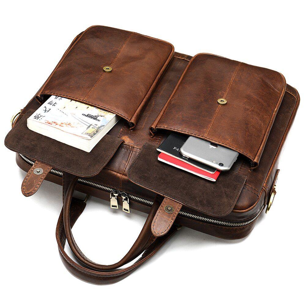 Oyixinger Men S Briefcase Men Vintage Handbag For Men Leather Laptop Bag Men Leather Porte Document Office B Laptop Bag Men Vintage Laptop Bag Mens Leather Bag