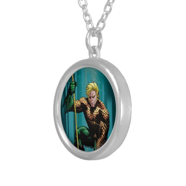 Aquaman Crouching Silver Plated Necklace ,