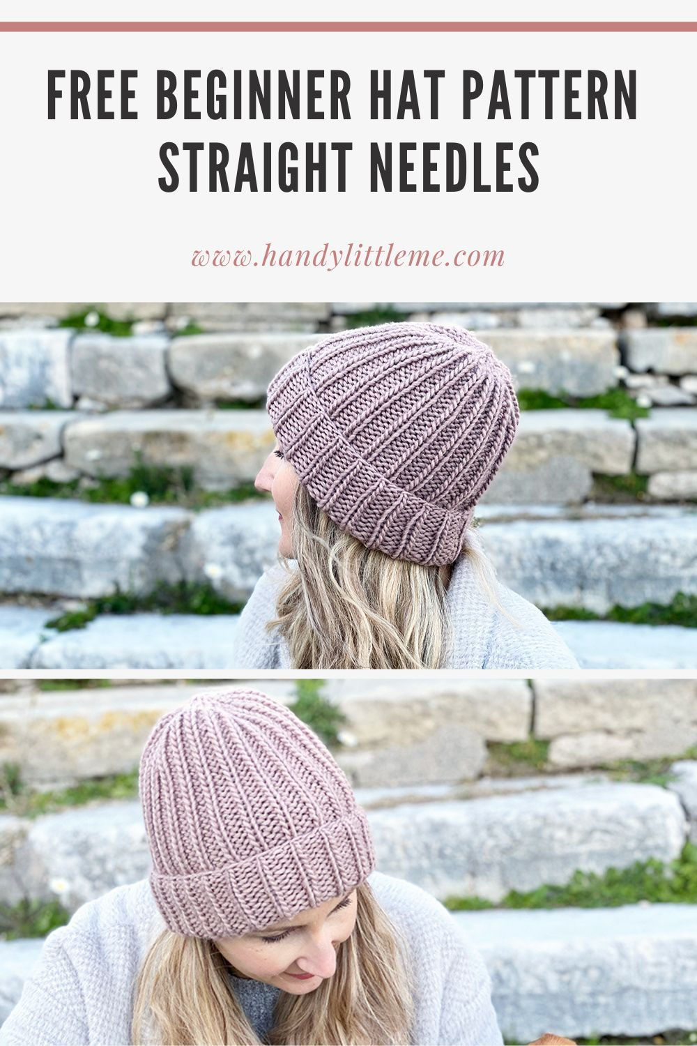 How To Knit A Hat With Straight Needles In 2021 Hat Pattern Easy Knitting Projects Knitted Hats