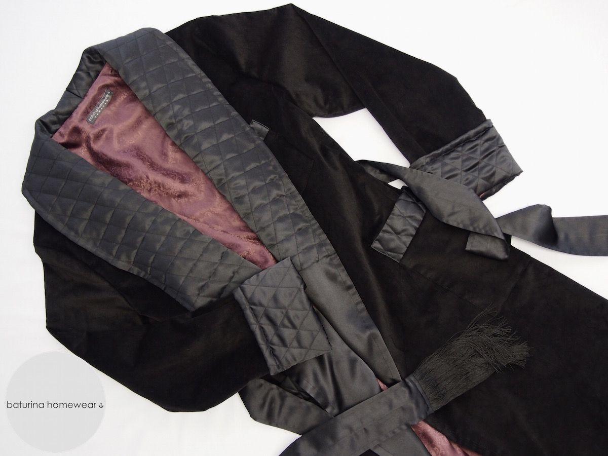 Black velvet full length dressing gown for men. Long silk lined robe ...