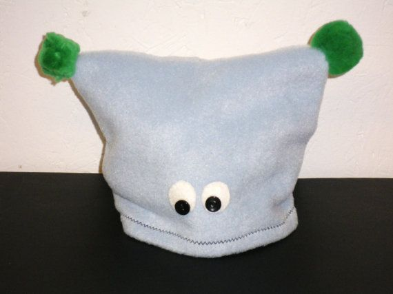 Hand Made Fleece Baby Hat  Pale Blue Monster by TheCrazyCuteCloset, £8.00