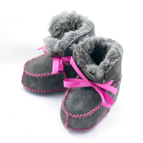 61fb593c8b5a Gray and fuchsia shearling boots baby moccasins by ElkKidsBoutique ...