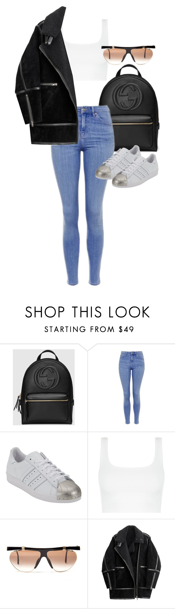 """Untitled #6712"" by ashley-r0se-xo ❤ liked on Polyvore featuring Gucci, Topshop, adidas, Retro Sun and H&M"
