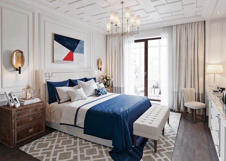 chambre cocooning avec moulures en bois blanc neige, tapis ...