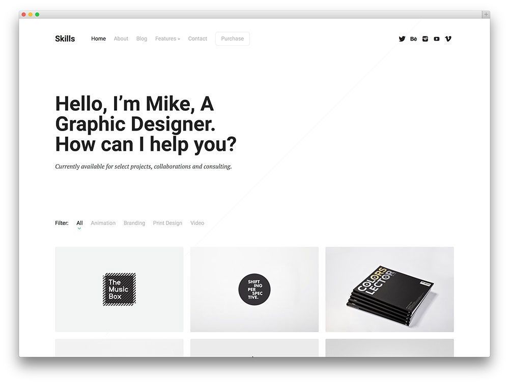 Skills Minimalist Portfolio Theme Wordpress Themes Wordpress