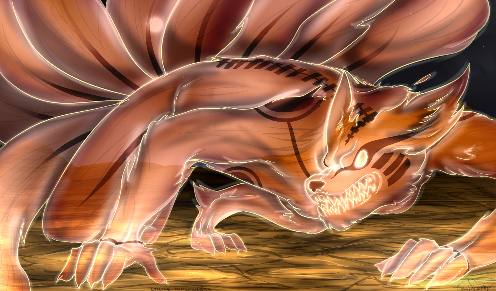 Naruto Fanart Kyuubi Sage Mode By Cherry Chocoalate Deviantart