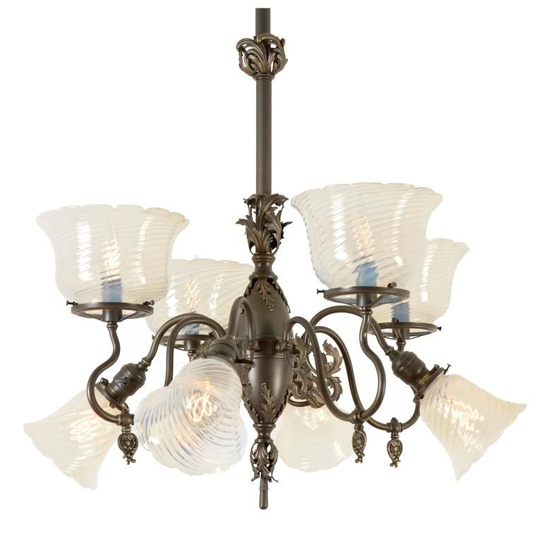 Electric Chandelier Rococo gaselectric chandelier with opalescent shades circa 1900 rococo gaselectric chandelier with opalescent shades circa 1900 from a unique collection audiocablefo
