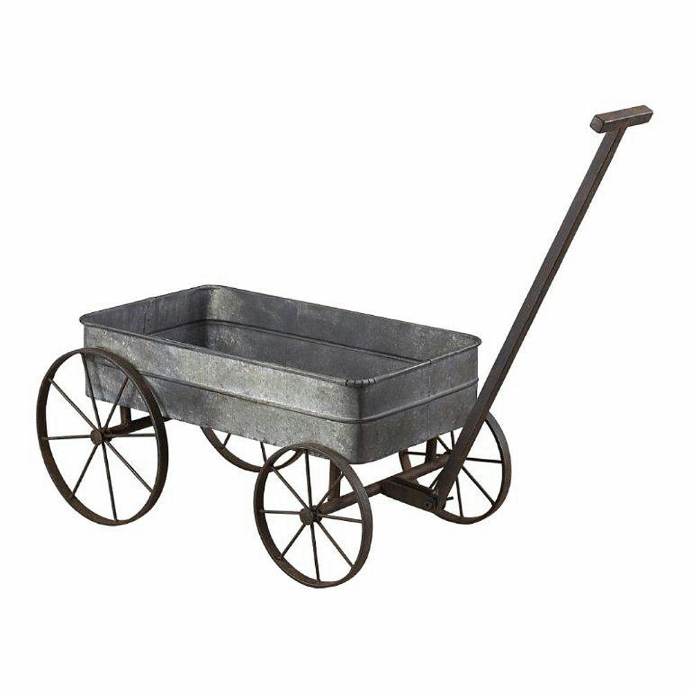 Metal Cart Planter W/ Handle Garden Wagon With Wheels Plant Stand Metal New