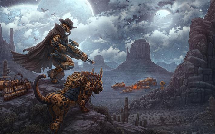Download Wallpapers Desert Hunter Monsters Warrior Darkness Besthqwallpapers Com Steampunk Artwork Bounty Hunter Futuristic Art