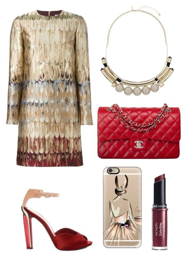 """""""evening glitter"""" by yourselffashion ❤ liked on Polyvore featuring Valentino, Casetify, Topshop, Alexander McQueen, Chanel and Revlon"""