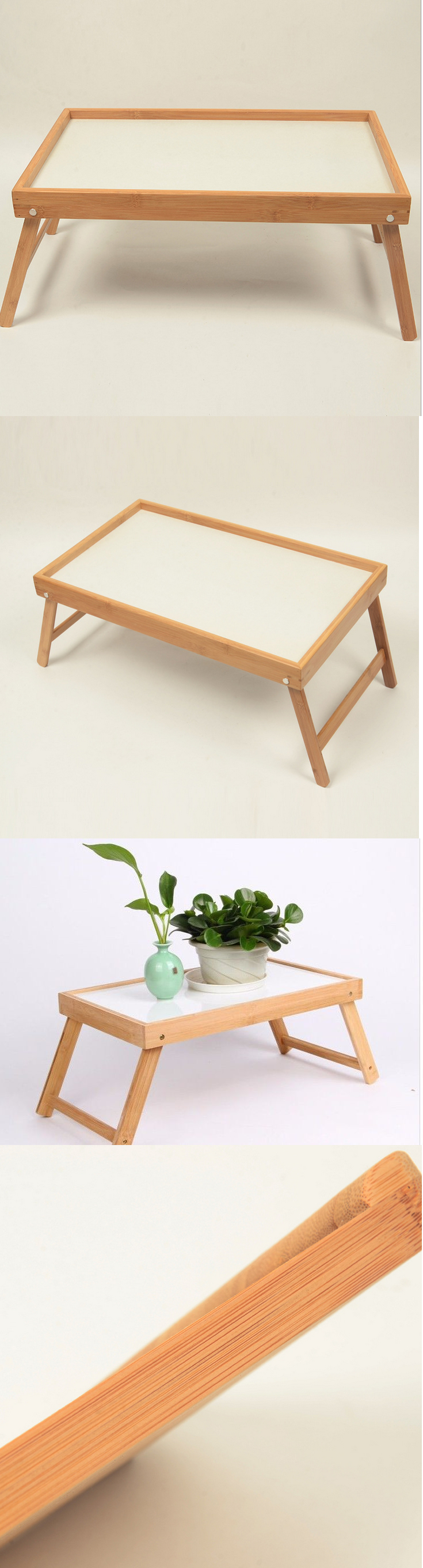 Bed and Chair Tables Bamboo Folding Table Tray Use In Bed Food
