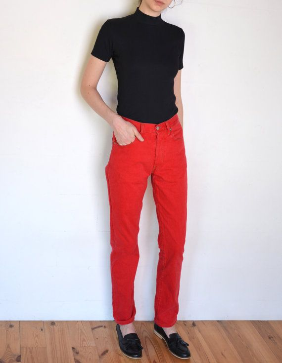90's red Levi's pants, grunge pants, mom jeans, red denim high ...