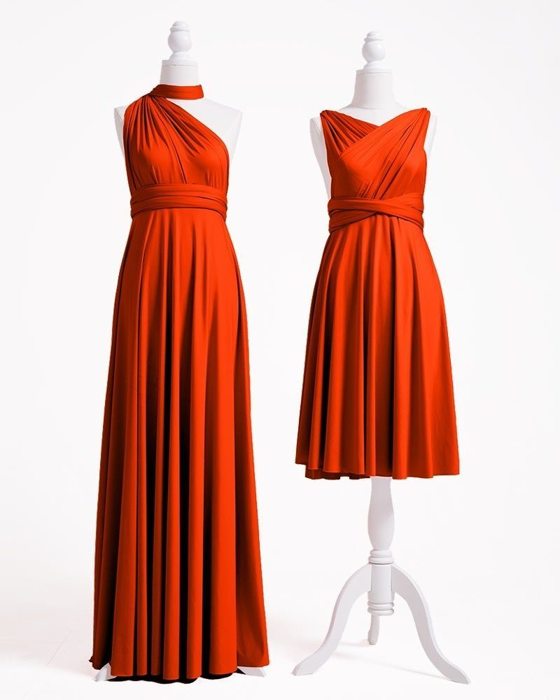 burnt orange bridesmaid dresses, infinity dress, convertible